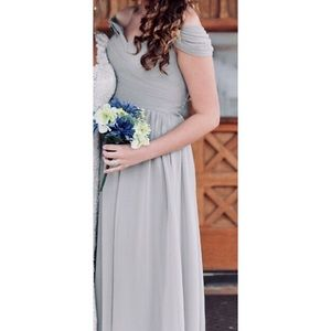 Light Grey/Gray Cold Shoulder Dress/Gown